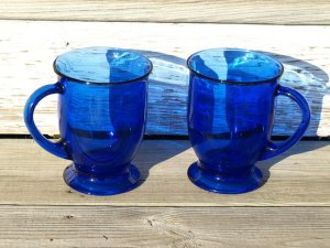 Pair of Cobalt Glass mugs by Anchor Hocking.