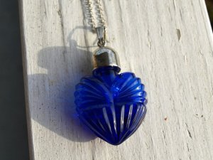 Cobalt Glass Perfume pendant with silver plate lid.