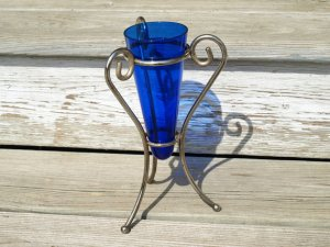 Cobalt Glass Vase with Godinger Silver Plate stand.