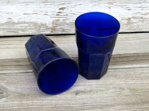 This pair of Cobalt Glass Tumblers is made by the Libby Glass Co.