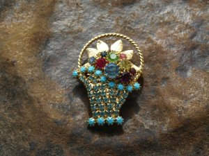 Floral Basket Brooch  by Hobe.