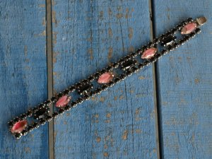 Pink and Black Rhinestone Bracelet  by Weiss.